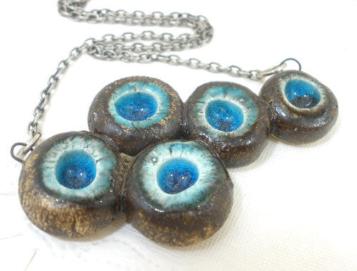 OOAK turquoise and brown ceramic jewelry