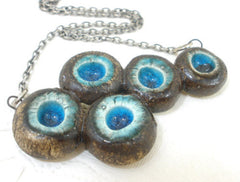 OOAK turquoise and brown ceramic jewelry - Ceramics By Orly  - 1