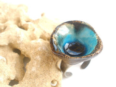 One of a kind turquoise and brown ceramic ring - Ceramics By Orly  - 4