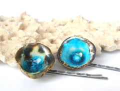 Turquoise Hair pins One of a kind turquoise and brown ceramic jewelry hair pins - Ceramics By Orly  - 1