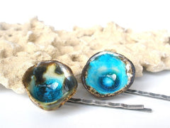 Turquoise Hair pins One of a kind turquoise and brown ceramic jewelry hair pins - Ceramics By Orly  - 2