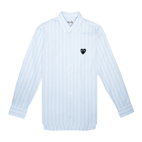 STRIPED BUTTON DOWN WITH BLACK HEART