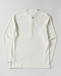 Men's Barena Solid Long Sleeve Henley in ecru white with half-button closure