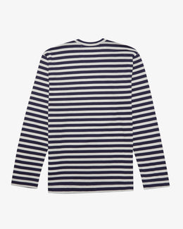 NAVY & WHITE STRIPE LONG SLEEVE T-SHIRT WTH GREEN HEART