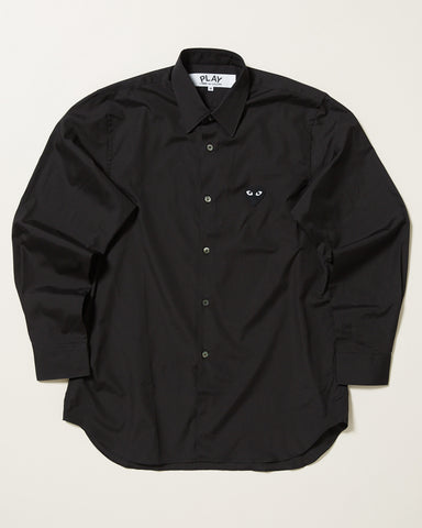 POPLIN BUTTON DOWN WITH BLACK HEART