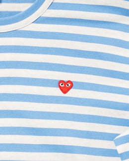 COMME des Garçons PLAY Men's Striped Long Sleeve Shirt in light blue/white with small red heart patch embroidered on chest