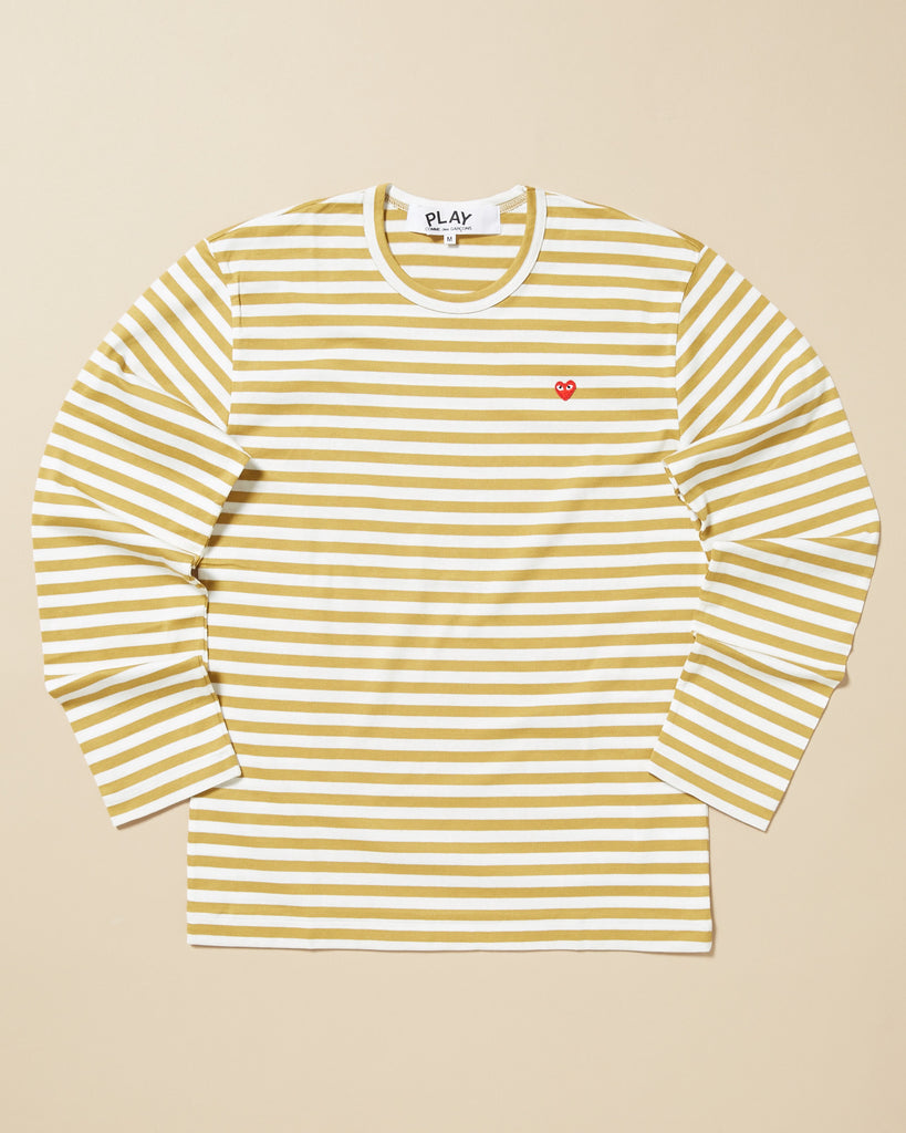 b59bd3db0c COMME DES GARCONS PLAY. STRIPED LONG SLEEVE T-SHIRT WITH SMALL RED HEART.  Previous Next