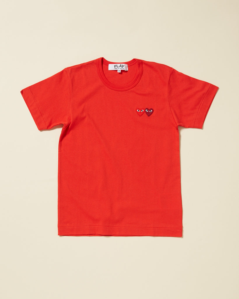3c0d5f7d2094 COMME DES GARCONS PLAY - T-SHIRT WITH SMALL DOUBLE HEARTS - Red – UNKNWN