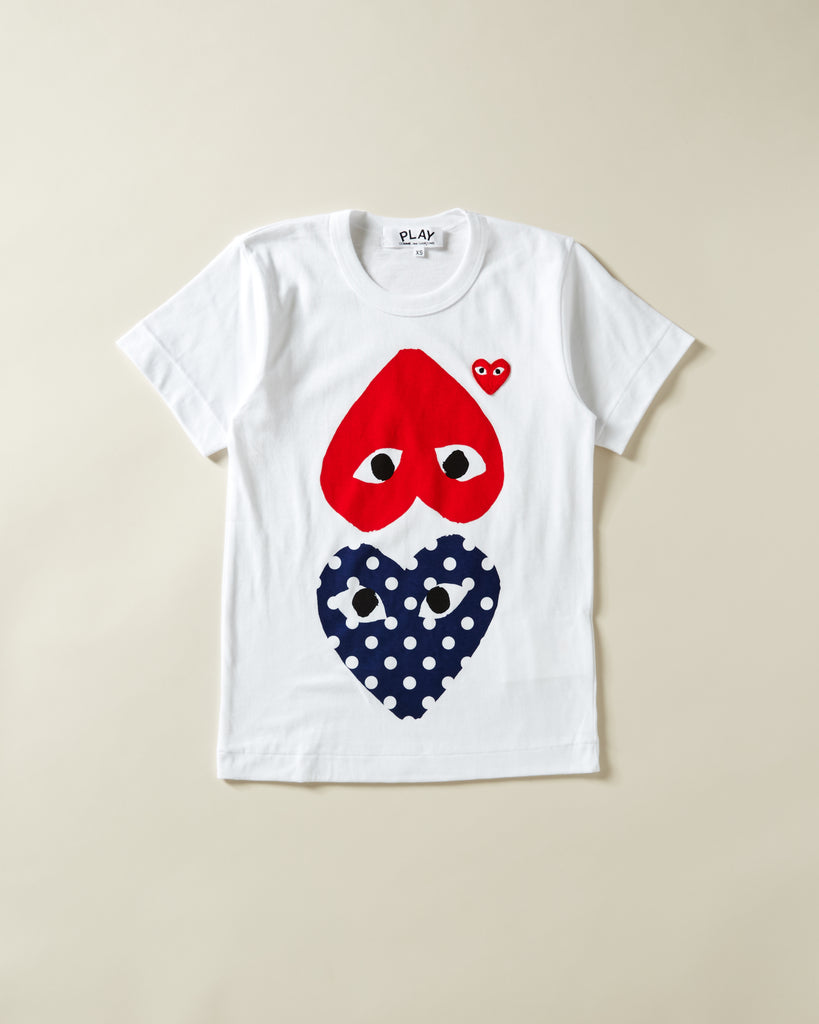 1b9b58819 COMME DES GARCONS PLAY. WOMENS T-SHIRT WITH DOUBLE HEART GRAPHIC. Previous  Next