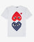 T-SHIRT WITH DOUBLE HEART GRAPHIC, WHITE/NAVY/RED