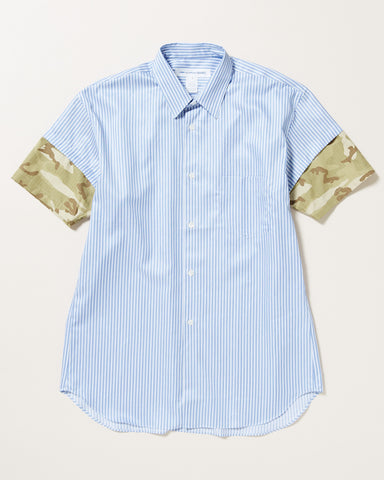 STRIPED SHORT SLEEVE BUTTON UP WITH CAMO DETAIL