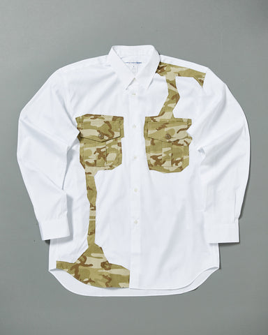 POPLIN SHIRT WITH CAMO PATCHWORK