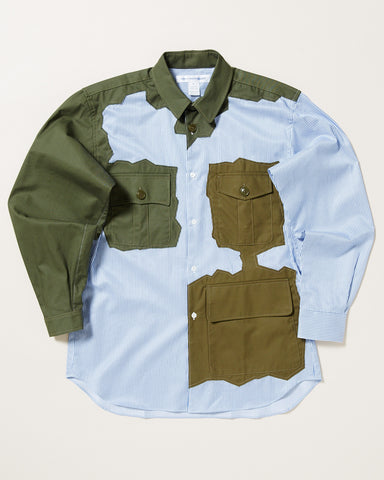 STRIPED BUTTON UP WITH OLIVE PATCHES