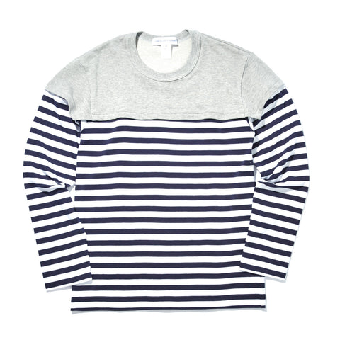LONG SLEEVE STRIPE T-SHIRT WITH GREY SHOULDER