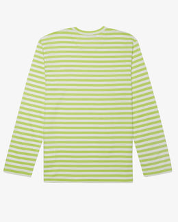 LONG SLEEVE NEON STRIPED T-SHIRT WITH SMALL RED HEART