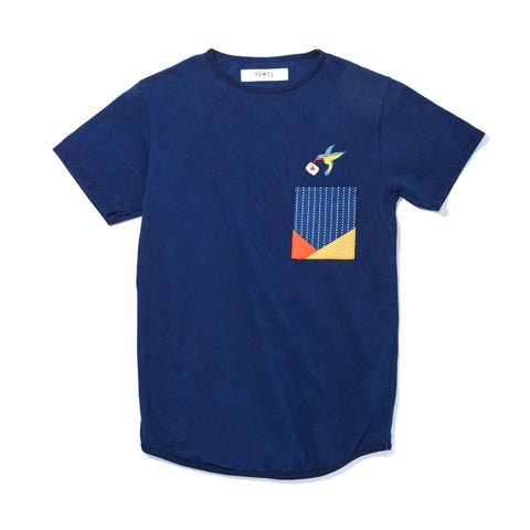 INDIGO ORIGAMI POCKET T-SHIRT