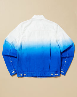 Ganryu Degrade White To Blue Denim Jacket With Pockets On Chest