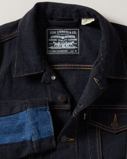 Men's Gosha Rubchinskiy Levi's Patchwork Jacket in black with blue denim patchwork, chest pockets and button closure