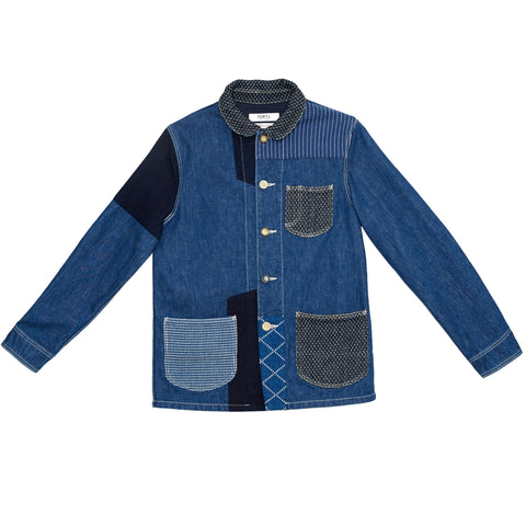 PATCHWORK DENIM COVERALL JACKET