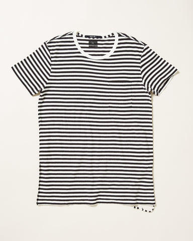 SLASH STRIPE POCKET T-SHIRT