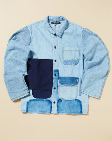 PATCHWORK DENIM UTILITY SHIRT