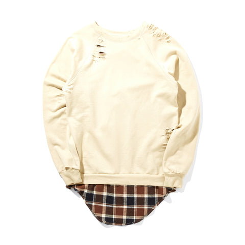 DESTROYED SWEATSHIRT WITH SHIRTING DETAIL