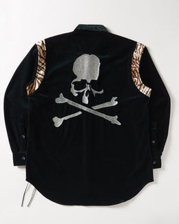 MASTERMIND WORLD Velvet Shirt Jacket with animal print accents on shoulders and skull embroidery on the back