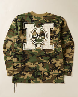 MASTERMIND WORLD Textured Logo Long Sleeve T-shirt in camo