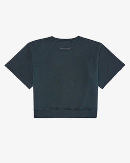 UNBRUSHED GARMENT DYED SHIRTSLEEVE SWEATSHIRT