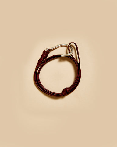 MATTE SILVER PLATED HOOK ON LEATHER BRACELET