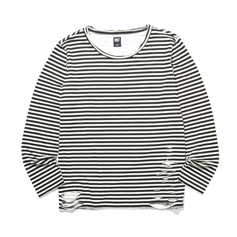 LOREL STRIPED DESTROYED LONG SLEEVE T-SHIRT
