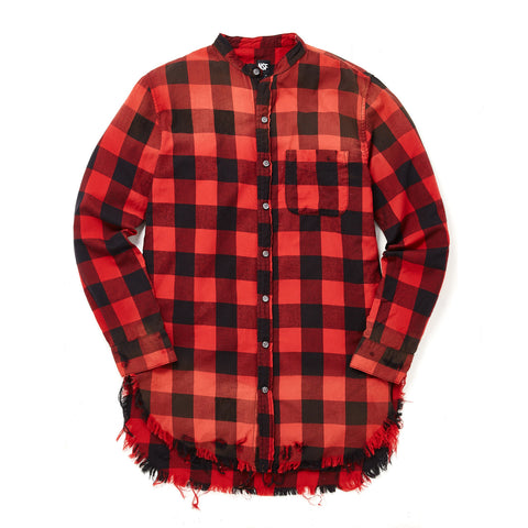 DUNE BUFFALO PLAID BUTTON DOWN WITH RAW HEM