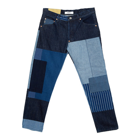 PATCHWORK BORO DENIM CROPPED JEANS