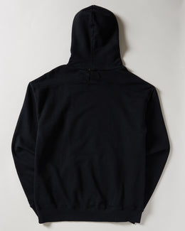 Men's Rhude Desert Treatment Hoodie in black with front pocket and blue graphic on the front