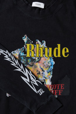 Men's Rhude Coyote Double Sleeve T-shirt in black with tribal print on the sleeves and large Rhude graphic on the front