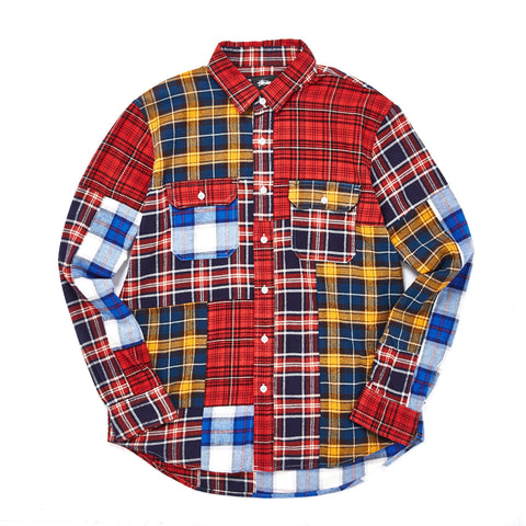 MIXED PLAID BUTTON UP