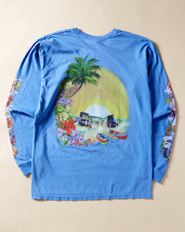 "St–Ω""ë_ssy Hellshire Pigment Dyed Long Sleeve T-shirt Blue"