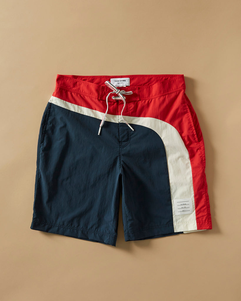 ec476b6ee4 THOM BROWNE - BOARD SHORT WITH LEFT SEAMED IN STRIPE IN BRUSHED FINISH SWIM  TECH – UNKNWN