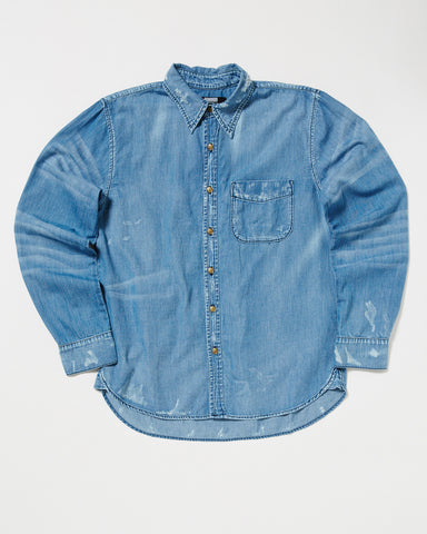 SINGLE POCKET DESTROYED CHAMBRAY SHIRT