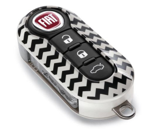 Fiat & Abarth 500 500L Gloss Chevrons Two Piece Key Cover New & GENUINE Fiat 50927692