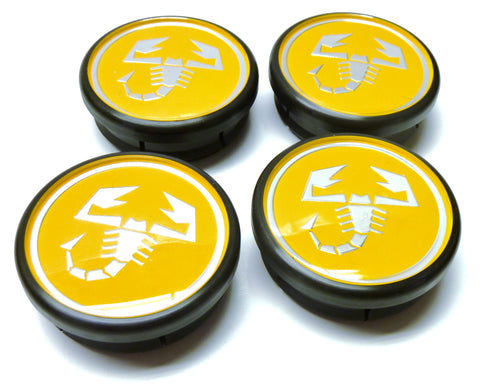 Set of Four Yellow Alloy Wheel Centre Caps - 500 Tributo Ferrari