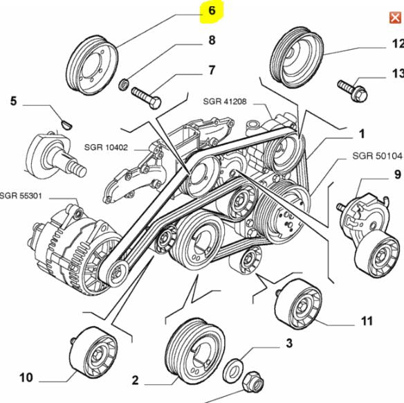 Water Pump Pulley - V6 on