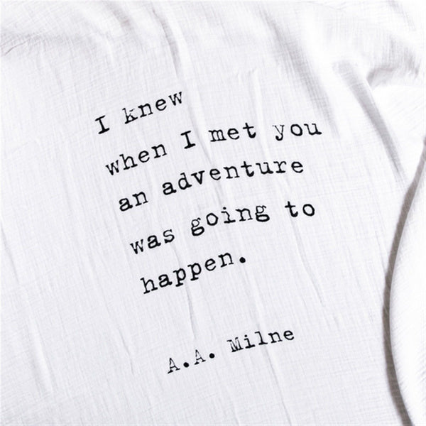 Swaddle Blanket A.A. Milne Quote - IN STOCK for immediate shipment