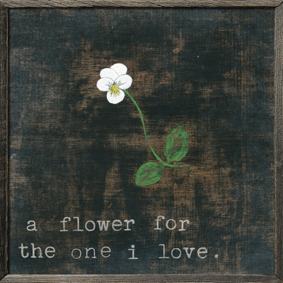 A-Flower-For-The-One-I-Love-Black-Art-Print-With-Flower