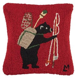 Black Bear Fishing Wool Hooked Throw Pillow
