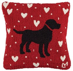 Black Lab And Hearts Wool Throw Pillow Red