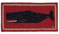 Black Whale Rug With Red Background