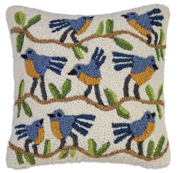 Blue Birds On White Wool Hooked Throw Pillow