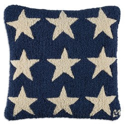 Blue and White Stars Wool Hooked Throw Pillow