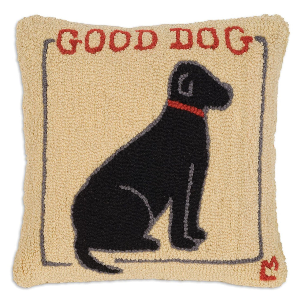 Good Dog Black Lab Throw Pillow